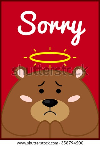 card with cute brown bear and