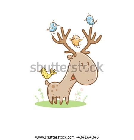 card with cute cartoon deer and
