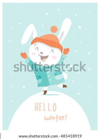 card with cute cartoon hare in