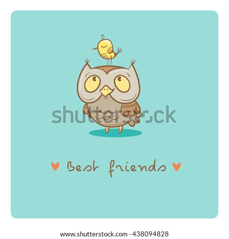 card with cute cartoon  owl and