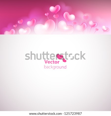 Card with cute glossy hearts on blurred background. Vector versi
