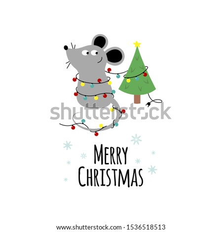 card with cute little mouse and