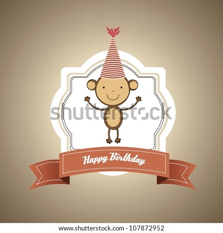 Card with cute monkey, vector illustration