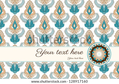 Card with damask pattern in the background and place for your text. Perfect for invitations, announcement or greetings. Colors are easily editable.