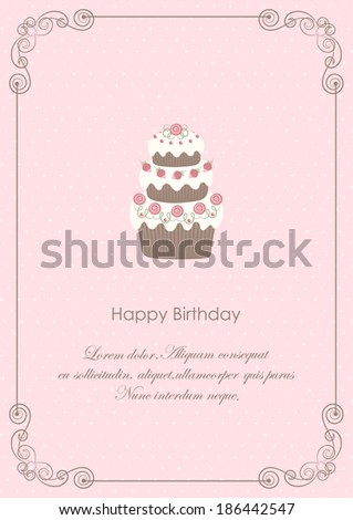 card with decorated cake on