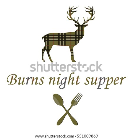 card with deer and burns night