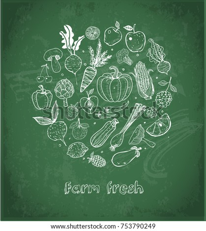Card with Doodle fruits and vegetables on blackboard background. Vector sketch illustration of healthy food.