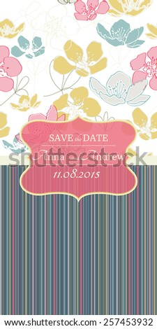 Card with Floral  pattern, pastel colors