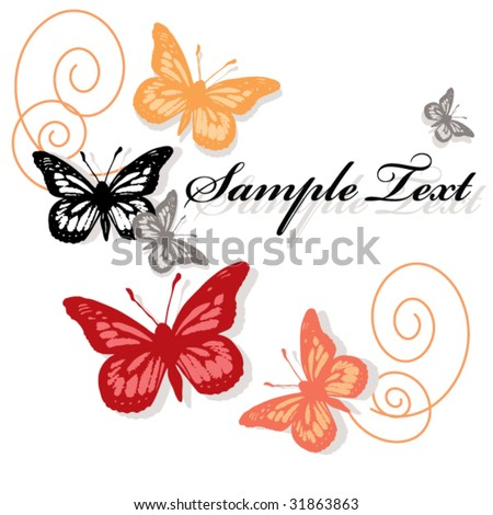 card with flying butterflies