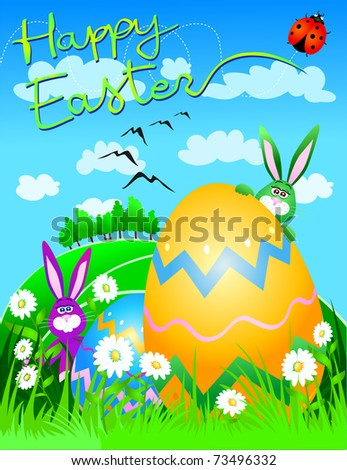 Funny Picture Cards on Card With Funny Happy Easter Bunny And Easter Egg  Vector   73496332