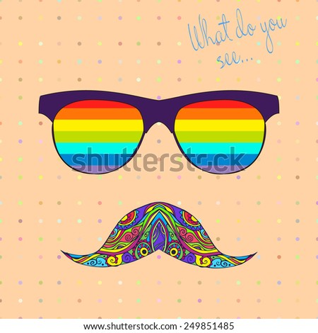 card with glasses and mustache