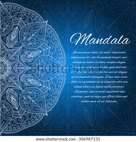 card with glow mandala vector background blue invitation card geometric circle element