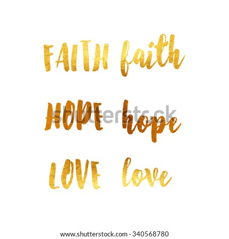 card with gold lettering and italic love, hope, faith