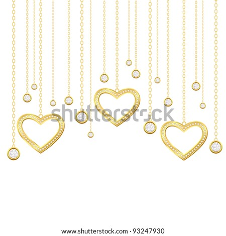 Card with golden heart and brilliants on a white background