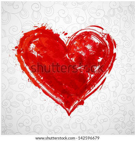 Card with grunge heart and pattern. Vector illustration.