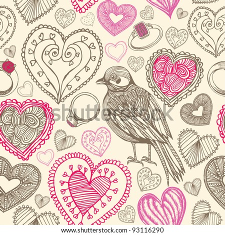 card with hand drawn bird and hearts