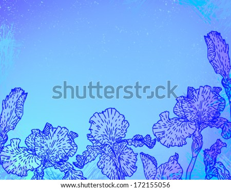 Iris flower banner line art download free vector art stock card with hand drawn iris flowers on abstract blue watercolour background template for spa promotion pronofoot35fo Choice Image