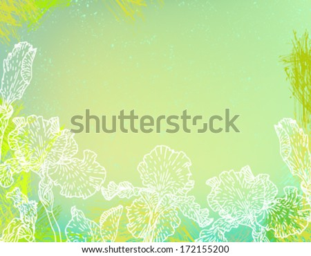 Iris flower banner line art download free vector art stock card with hand drawn iris flowers on abstract green watercolor background template for spa promotion pronofoot35fo Image collections