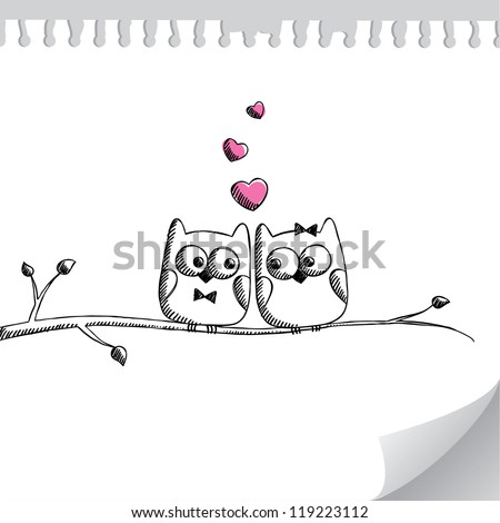 card with hand drawn owls on