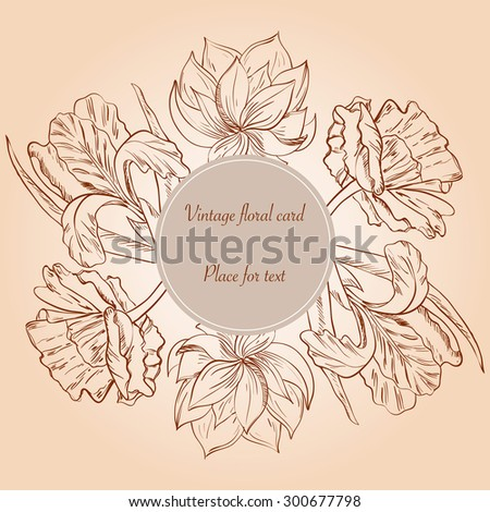 Card with hand painted sketch flowers and place for text. Vector illustration.