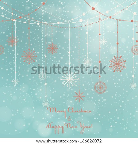Card with hanging snowflakes on winter background