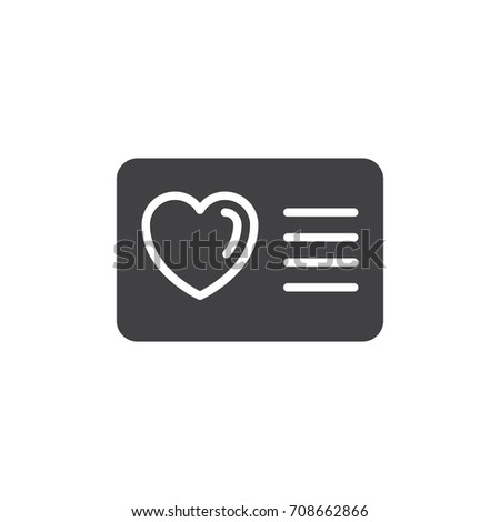Card with heart icon vector, filled flat sign, solid pictogram isolated on white. Loyalty card symbol, logo illustration. Pixel perfect vector graphics Photo stock ©