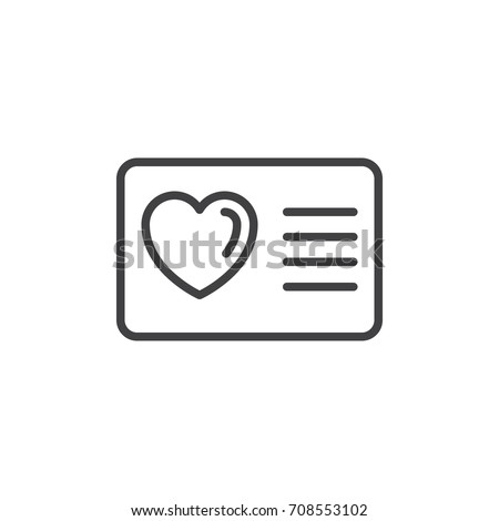 Card with heart line icon, outline vector sign, linear style pictogram isolated on white. Loyalty card symbol, logo illustration. Editable stroke. Pixel perfect vector graphics Photo stock ©