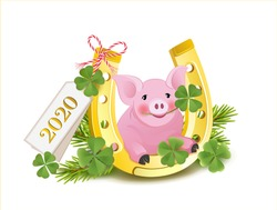 Card with horseshoe, lucky pig, shamrock and fir branches, New Years Eve and lucky charm card, Vector illustration isolated on white background