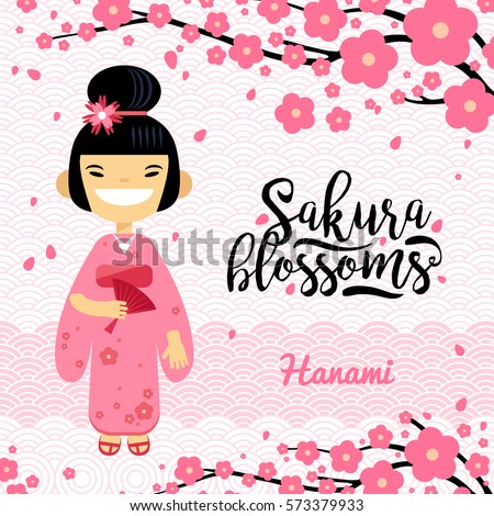 card with japanese girl  hanami