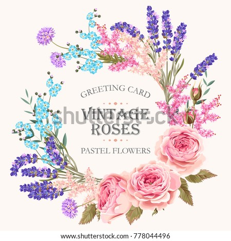 Card with lavender wreath #778044496
