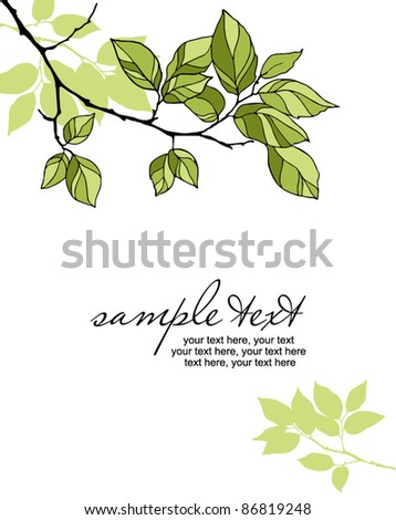 card with leaves - stock vector