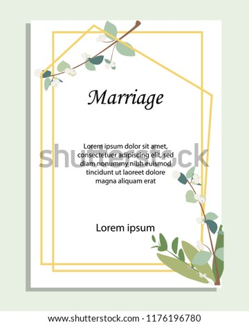 Card with leaves and geometrical frame. Wedding ornament concept. Floral poster, invite. Vector decorative greeting card, invitation design background #1176196780