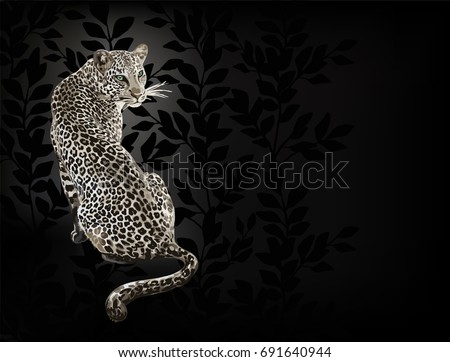 Stock Photo Card with leopard on black background