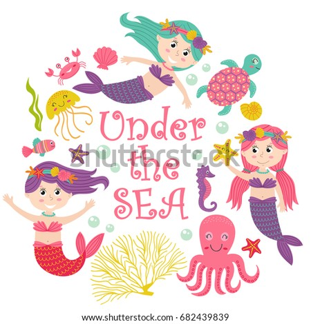 card with mermaid under the sea