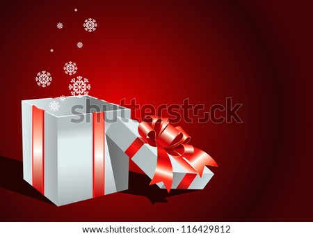 card with open gift box