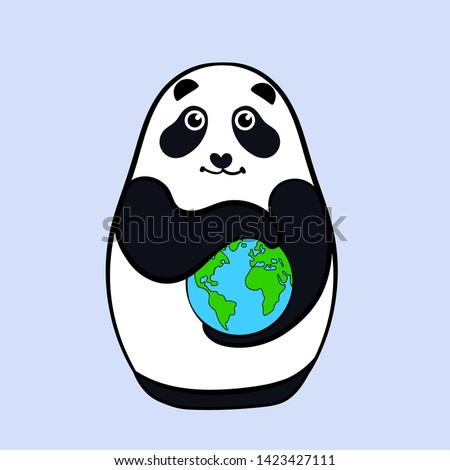 Card with panda nesting doll that holds the Earth. Isolated on gray background. Illustration. Template for print - Vector
