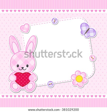 card with pink bunny for girl