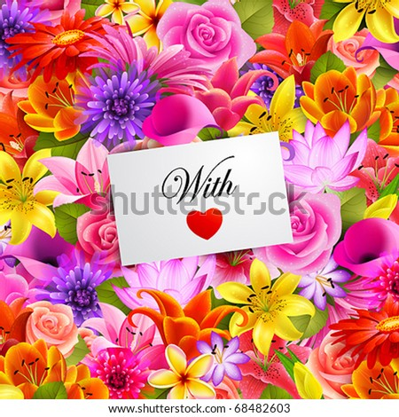 card with place for text on flower background