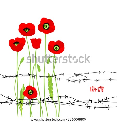 card with poppies and barbed