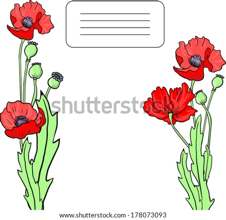 card with poppy flowers,  hand drawn vector illustration