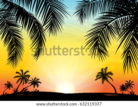 card with realistic palm trees