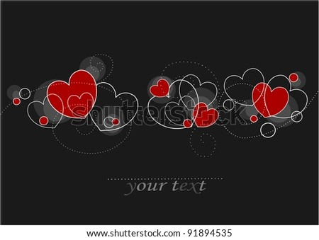 Card with red and white hearts with empty place for your text