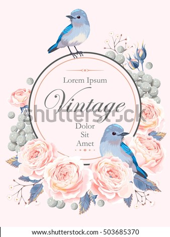 Card with roses and bird