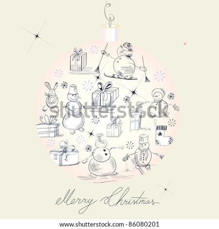 Card with snowman - stock vector