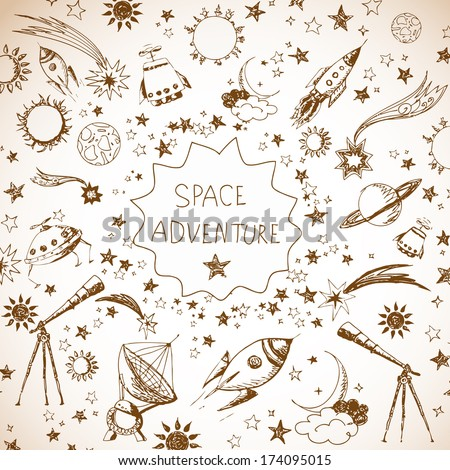 Card with space objects stars rockets planets the moon the sun etc Hand-drawn with ink in vintage style
