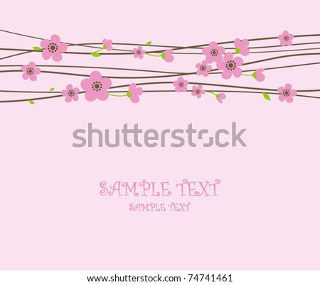 card with spring cherry blossoms