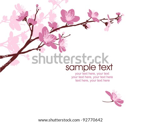 card with stylized cherry blossom and text - stock vector