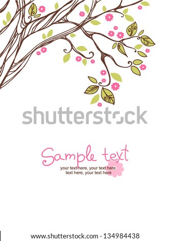card with stylized cherry