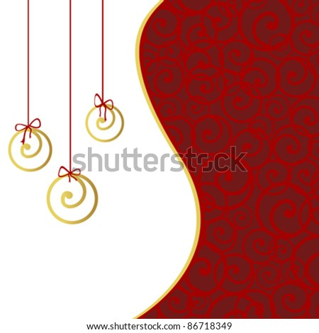 Card with stylized Christmas balls