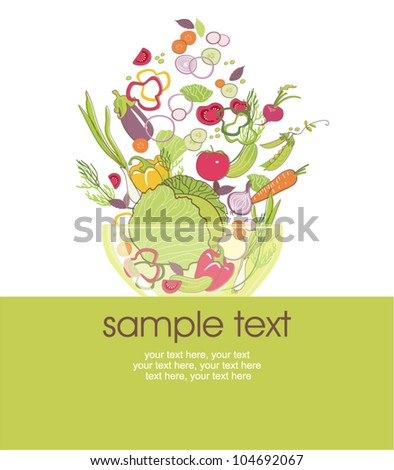 card with stylized salad in a bowl